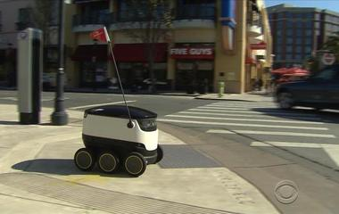 Self-driving robots making food deliveries