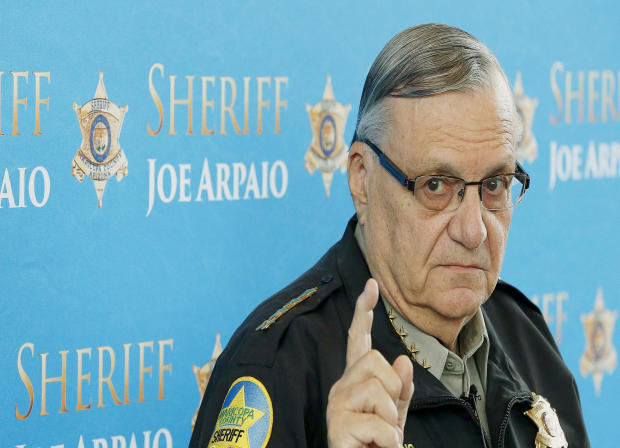In this Dec. 18, 2013, photo, Maricopa County Sheriff Joe Arpaio speaks at a news conference at the sheriff's headquarters in Phoenix, Ariz.