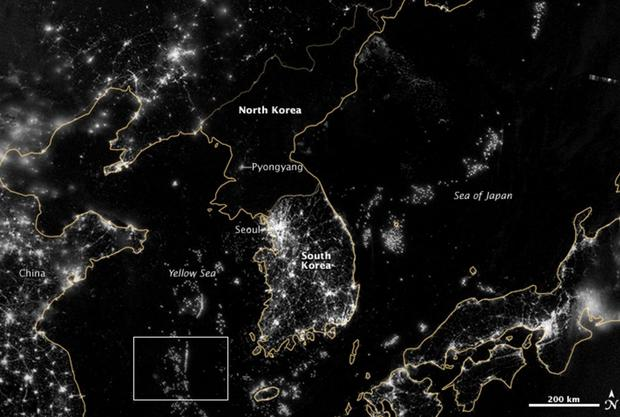 Dark And Light North Korea Hermit Country Seen From Space