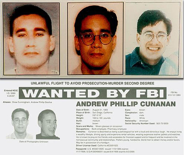 Cunanan FBI Wanted poster