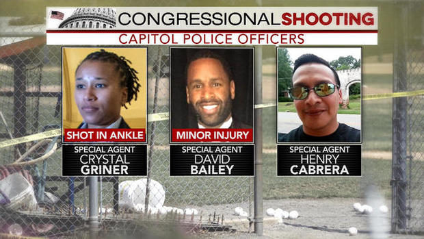U.S. Capitol Police Special Agents Crystal Griner, David Bailey and Henry Cabrera were on the scene when a gunman attacked a Republican baseball practice in Alexandria, Virginia, on June 14, 2017.