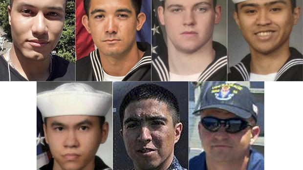 This combination of undated photos released June 19, 2017, by the U.S. Navy shows the seven U.S. sailors who died in a collision between the USS Fitzgerald and a container ship off Japan on June 17, 2017. From top left to right, Personnel Specialist 1st C