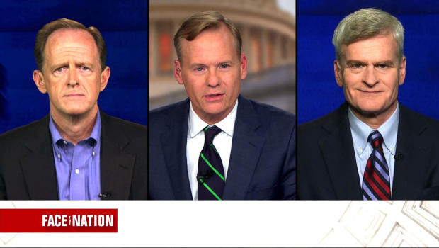 "Sen. Pat Toomey, left, R-Pennsylvania, and Sen. Bill Cassidy, right, R-Louisiana, are seen during an interview with ""Face the Nation"" moderator John Dickerson on June 25, 2017."