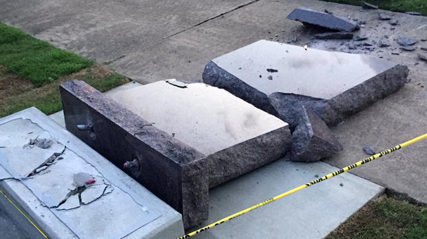 A vehicle destroyed a Ten Commandments monument on the grounds of Arkansas' Capitol on June 28, 2017, less than 24 hours after it was installed in Little Rock, Arkansas.