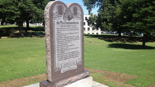 A statue of the Ten Commandments is seen after it was installed on the grounds of the state Capitol in Little Rock, Arkansas, June 27, 2017.