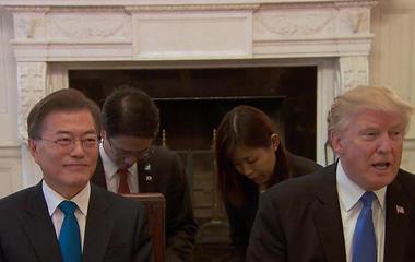 Trump discusses N. Korean threat with S. Korean president