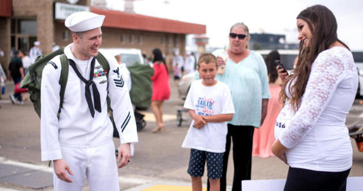Navy Sailor Reacts To Wifes Pregnancy Surprise - Cbs News-5342