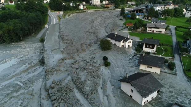 Still image taken from video shows the remote village of Bondo in Switzerland after a landslide struck it