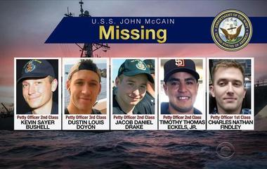 Navy releases names of sailors killed or missing in USS John S. McCain collision