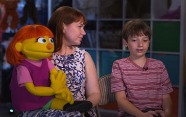The real-life mother and son behind a Muppet with autism