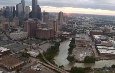 Helicopter view of Houston shows extent of flooding damage