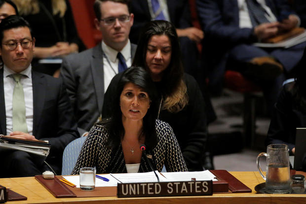 U.S. Ambassador to the United Nations Nikki Haley delivers remarks during a meeting by the United Nations Security Council on North Korea at the U.N. headquarters in New York City
