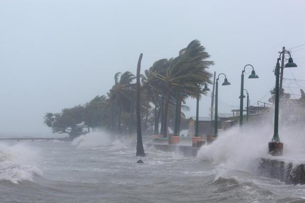 Waves crash against the seawall in Fajardo as Hurricane Irma slammed across islands in the northern Caribbean