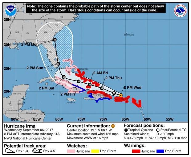 Hurricane Irma Category 5 roars through Caribbean rains hit