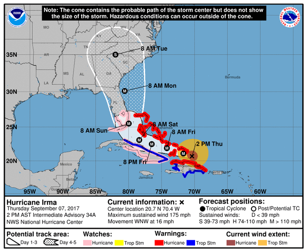 Hurricane Irma Track Which Path Model Do You Trust Updated Cbs News