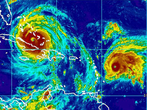 Irma, left, and Jose are seen in an infrared satellite image captured at 10:45 a.m. ET on Sept. 8, 2017.