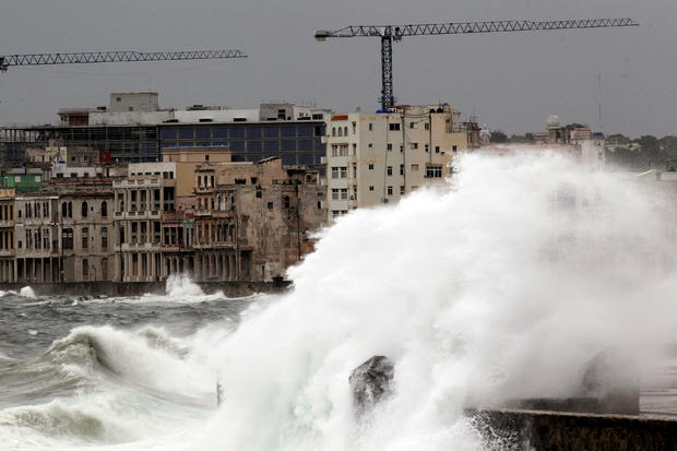 Waves crash against the seafront boulevard El Malecon ahead of the passing of Hurricane Irma, in Havana