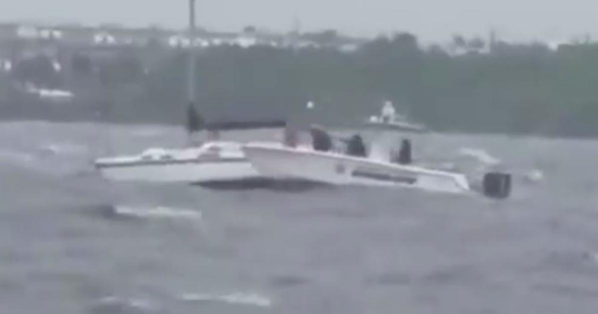 Video Shows Rescued From Boat Trying To Ride Out Hurricane Irma Cbs News