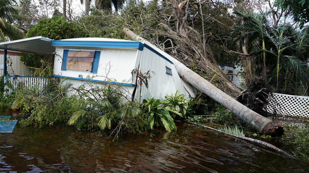 A trailer in a trailer park is pictured following Hurricane Irma in Key Biscayne, Florida, Sept. 11, 2017.