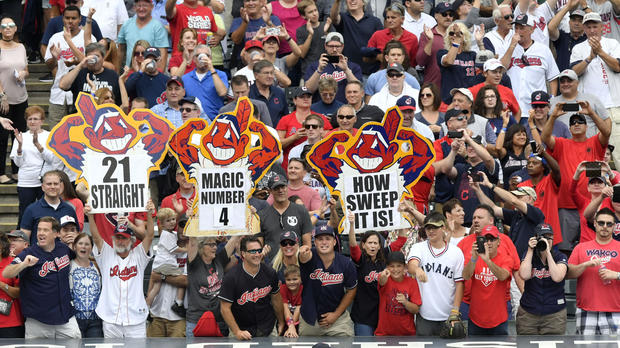 Fans celebrate after a Cleveland Indians win over the Detroit Tigers at Progressive Field in Cleveland Sept. 13, 2017.