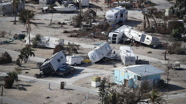 Damaged homes and RVs are seen at the Sunshine Key RV Resort & Marina after Hurricane Irma passed through the area on Sept. 13, 2017, in Sunshine Key, Florida.