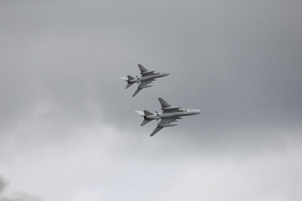 Polish jet fighter-bombers Sukhoi Su-22 fly during Dragon-17 military exercises at the military range near Drawsko Pomorskie