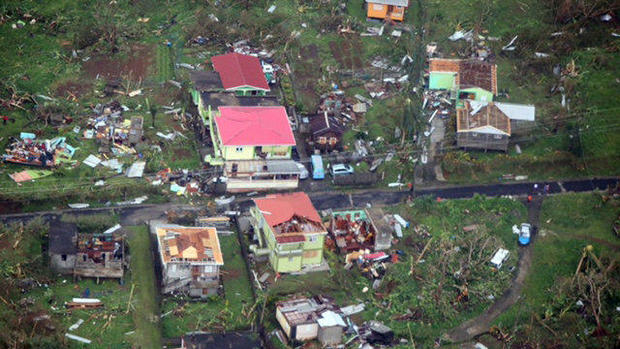Homes damaged by Hurricane Maria are seen in this aerial photo over the island of Dominica Sept. 19, 2017.