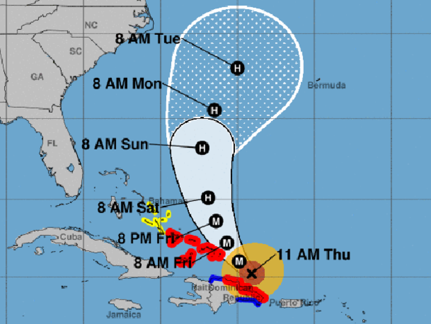 "A map shows the probable path for Hurricane Maria as of 11 a.m. ET on Sept. 21, 2017. The M stands for ""major hurricane."" The red areas represent hurricane warnings. The blue areas represent tropical storm warnings. The yellow areas represent tropical storm watches."