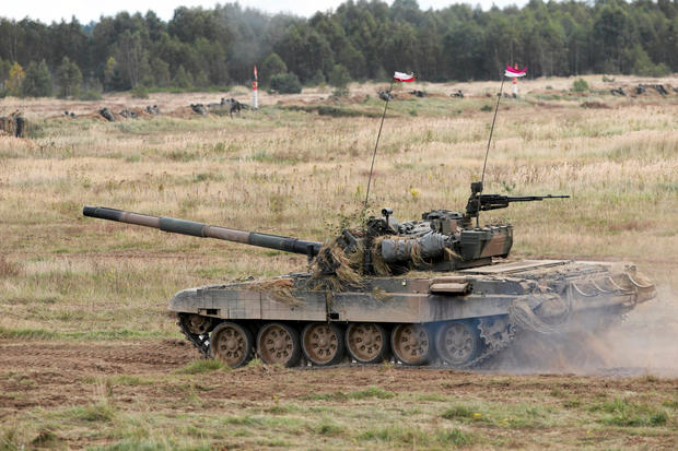 Polish PT-91 tank tank drives during Dragon-17 military exercises at the military range near Drawsko Pomorskie