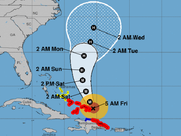 "A map shows the probable path for Hurricane Maria as of 5 a.m. ET on Sept. 22, 2017. The M stands for ""major hurricane."" The red areas represent hurricane warnings. The blue areas represent tropical storm warnings. The yellow areas represent tropical storm watches."