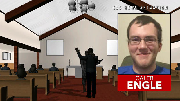 A photo of Robert Caleb Engle, an usher at Burnette Chapel Church of Christ in Nashville, Tennessee, is inset in an image capture of an animation of a deadly shooting at the church on Sept. 24, 2017.
