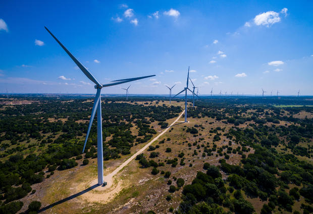 Amazing Aerial Wind Turbine Farm Goldthwaite Texas
