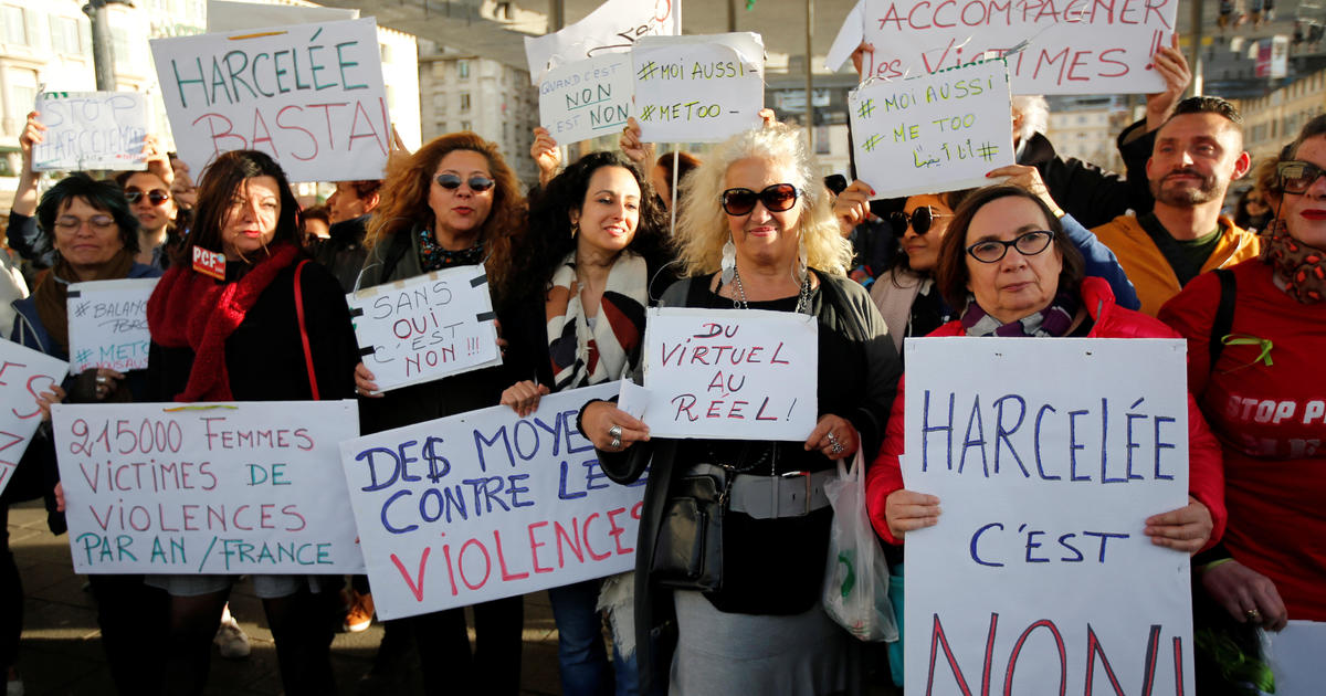 French Women Protest Sexual Abuse Under Metoo Banner Cbs News