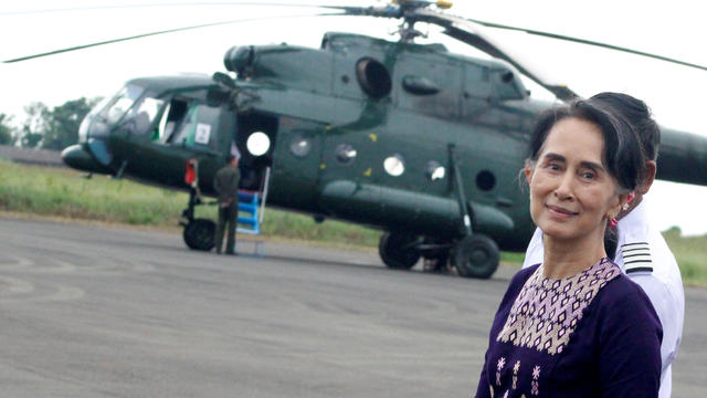 Myanmar's de facto leader Aung San Suu Kyi arrives at Sittwe airport after visiting Maungdaw in the state of Rakhine
