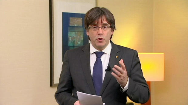 Sacked Catalan President Carles Puigdemont makes a statment in Brussels