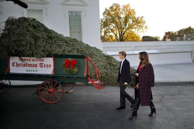 First Lady Melania Trump and her son Barron Trump welcome the official White House Christmas Tree, a Wisconsin-grown tree provided by the Chapman family of Silent Night Evergreens, to the White House in Washington DC