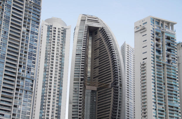 The Trump Ocean Club International Hotel and Tower Panama is seen between apartment buildings in Panama City