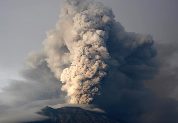 Mount Agung volcano erupts as seen from Kubu, Karangasem Regency, Bali, Indonesia, Nov. 28, 2017.