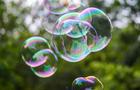colorful soap bubbles close up