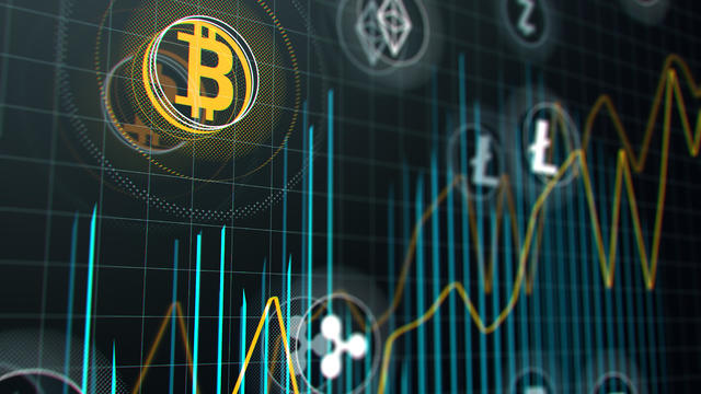 Bitcoin and other virtual money. Cryptocurrency stock market graph on virtual screen.