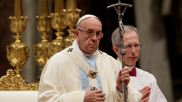 Pope Francis leads a mass to mark the World Day of Peace in Saint Peter's Basilica at the Vatican