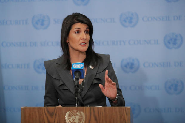 U.S. Ambassador to the United Nations Nikki Haley speaks at UN headquarters in New York