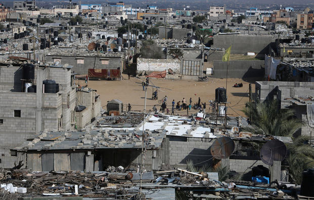 View shows houses of Palestinians in Khan Younis refugee camp in the southern Gaza Strip