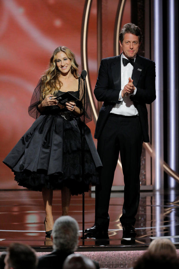 Presenters Sarah Jessica Parker and Hugh Grant at the 75th Golden Globe Awards in Beverly Hills, California,