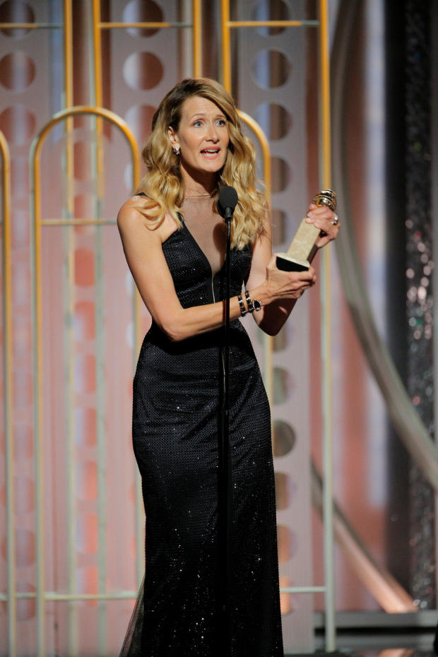 """Laura Dern winner for Best Performance by an Actress in a Supporting Role in a Series, Limited Series, or Motion Picture Made for Television for """"Big Little Lies"""" at the 75th Golden Globe Awards in Beverly Hills"""