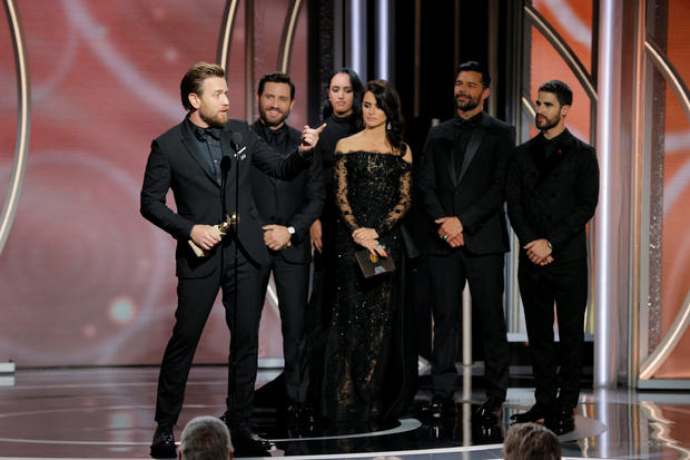 """Ewan McGregor winner Best Performance by an Actor in a Television Limited Series or Motion Picture Made for Television """"Fargo"""" speaks at the 75th Golden Globe Awards in Beverly Hills, California"""