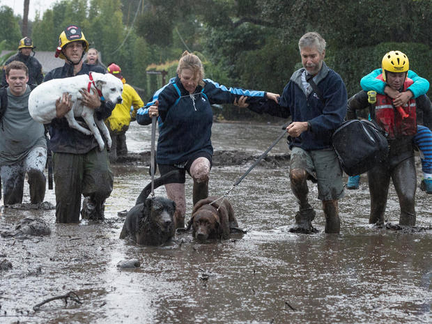 Emergency personnel evacuate local residents and their dogs after a mudslide in Montecito