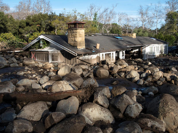 A home on Glen Oaks Road damaged by mudslides in Montecito