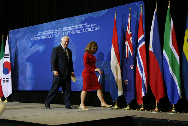 U.S. Secretary of State Rex Tillerson and Canada's Foreign Minister Chrystia Freeland walk off stage after their news conference during the Foreign Ministers' Meeting on Security and Stability on the Korean Peninsula in Vancouver, British Columbia