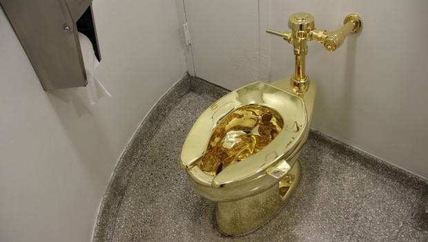 gold toilet. Trumps offered used gold toilet in lieu of van Gogh painting  Report CBS News